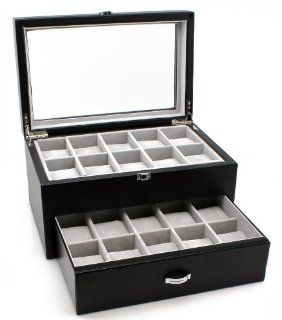 Heiden Premier Black Leather Watch Box for 20 watches (Great for Extra Large Watches) Watches