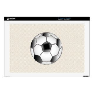 "Black and White Soccer Ball 17"" Laptop Decals"
