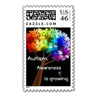 Autism Awareness Rainbow Puzzle Tree Postage