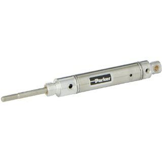 Parker .56RPSR01.0 Stainless Steel 304 Air Cylinder, Round Body, Single Acting, Spring Extend, Pivot & Nose Mount, Non cushioned, 9/16 inches Bore, 1 inches Stroke, 3/16 inches Rod OD, #10 UNF Port Industrial Air Cylinders