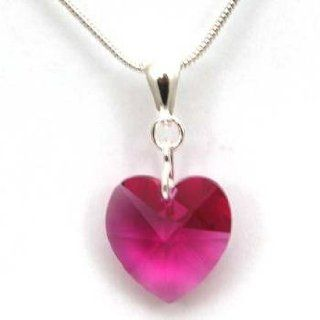 "Toc Fuchsia Pink Crystal Heart Pendant on 18"" Snake Chain Jewelry"