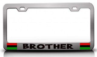 BROTHER Afro American Steel Metal License Plate Frame Ch # 53 Automotive
