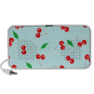 Fresh Pink Cherries on a Mint Background Notebook Speakers