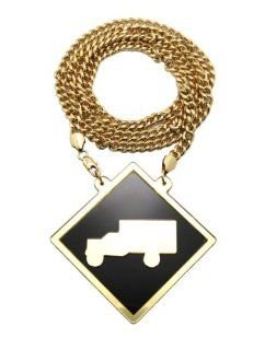 "New Iced Out Gold/Black Lil Wayne Mirror Pendant w/8mm 36"" Miami Cuban Chain Necklace XP867 1G Jewelry"