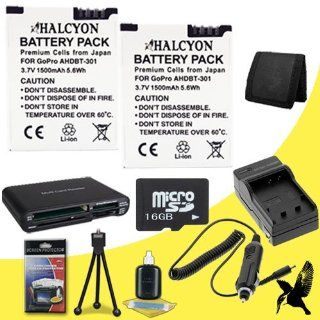 Two Halcyon 1500 mAH Lithium Ion Replacement Battery and Charger Kit + 16GB microSD Memory Card + Deluxe Starter Kit + Memory Card Wallet + Multi Card USB Reader for GoPro HD HERO3+, HERO3 Black, Silver, and White Edition and GoPro AHDBT 301  Digital Slr