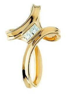 14K Yellow Gold Diamond Cross Pendant 25.25mm x 17.5mm (Yellow Gold) Jewelry