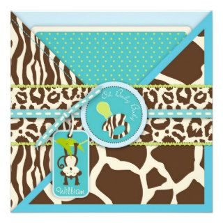 Boy Monkey Jungle Safari Baby Shower Custom Invites