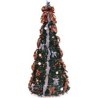 Pop Up 6' Green Artificial Christmas Tree with 350 Lights   Pull Up Christmas Tree