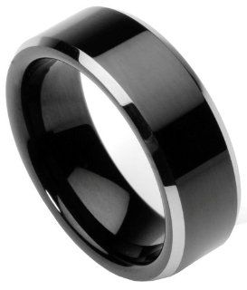 Men's Tungsten Ring/Wedding Band, Flat Top, Two Toned Black, Sizes 7   12 by Men's Collections (rg2) Jewelry