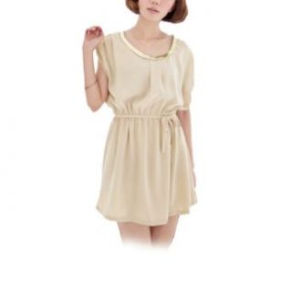 Women Scoop Neck Sleeveless Elastic Waist Semi Sheer Chiffon Dress Beige XS