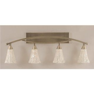 Bow 4 Light Bath Bar in Brushed Nickel Finish w 5.5 in. Italian Ice Glass   Vanity Lighting Fixtures