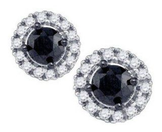 1.04 cttw 10k White Gold Black Diamond Mens Round Stud Earrings Screw Backs (Real Diamonds 1.04 cttw) Jewelry