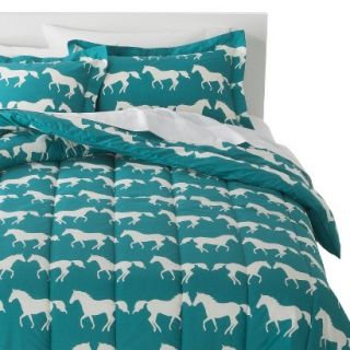Anorak Horses Comforter Set   Blue/White (Twin Extra Long)