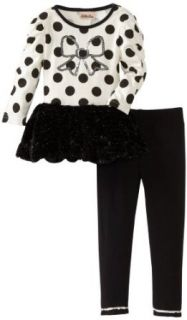 Little Lass Girls 2 6x 2 Piece Dressy Set With Dots, Black, 3T Clothing