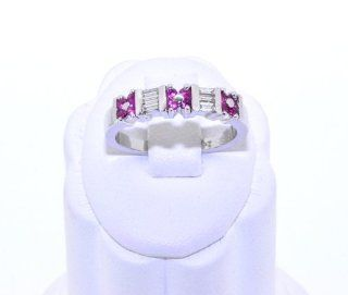 18K White Gold Diamond/Ruby Ring Jewelry