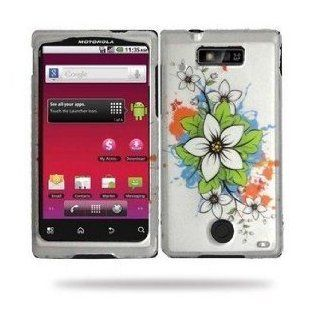 White Flower Premium Design Snap On Hard Cover Case for Motorola Triumph WX435 (Virgin Mobil) + Luxmo Brand Car Charger Electronics