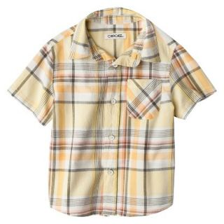 Cherokee Infant Toddler Boys Short Sleeve Plaid Buttondown   Mango Fizz 18 M