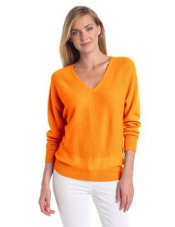 Minnie Rose Women's 100% Cashmere V Neck Dolman Pullover Sweater, Papaya, Small