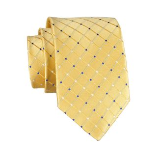 Stafford Dotted Grid Silk Tie, Yellow, Mens