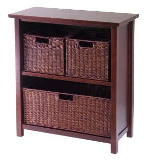 Winsome Wood Milan Wood 3 Tier Open Cabinet in Antique Walnut Finish and 3 Rattan Baskets in Espresso Finish   Shelves With Baskets