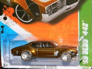 2011 Hot Wheels '68 OLDS 442 SUPER TREASURE HUNT 8 OF 15 #58 spectraflame brown (creased card) Toys & Games