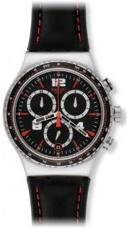Swatch YVS404 Pudong Chronograph Black / Red Dial Leather Strap Men Watch NEW Swatch Watches