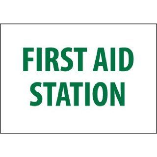 "NMC M442R Emergency and First Aid Sign, Legend ""FIRST AID STATION"", 10"" Length x 7"" Height, Rigid Polystyrene Plastic, Green on White Industrial Warning Signs"