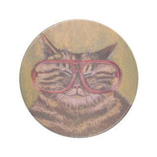 Big Fat Glasses Cat Coaster