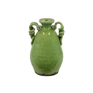 Ceramic Double handle Tuscan Green Vase Urban Trends Collection Vases