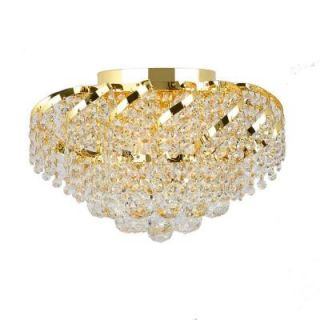 Worldwide Lighting Empire Collection 3 Light Crystal Flush Mount   Gold W33017G16