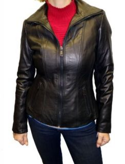 London Fog Women's Scuba Leather Jacket Black M