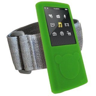 iGadgitz Green Silicone Skin Case Cover & Sports Gym Jogging Armband for Sony Walkman NWZ E450 Series + Screen Protector (NWZ E450, NWZ E453, NWZ E454, NWZ E455)   Players & Accessories