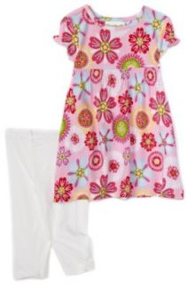Flapdoodles 2 Piece Allover Flower Print Knit Dress Set, Pink, 24 Months Clothing