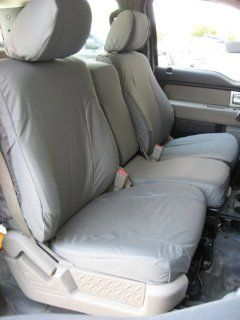 Exact Seat Covers, F461 X7, 2009 2010 Ford F150 XLT Front 40/20/40 Split Seats with Opening Center Console Custom Exact Fit Seat Covers, Gray Automotive Twill Automotive