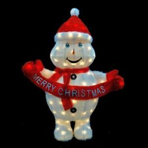 42 in. H Pre Lit Clear Mini Light Merry Christmas Snowman 56667075X