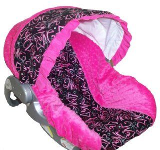 Infant Car Seat Cover, Baby Car Seat Cover, Slip Cover  LOVE Cotton & Hot Pink/Fuchsia Minky  Baby
