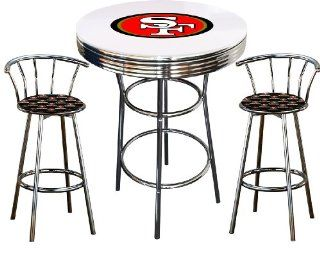 San Francisco 49ers Logo Themed 3 Piece Chrome Metal Finish Bar Table Set with Glass Table Top & 2 Swivel Seat 49ers Fabric Themed Bar Stools   Home Bars