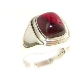 Gents Solid 925 Sterling Silver Cabochon Ruby Mens Mans Signet Ring, Made in England   Size 6   Finger Sizes 6 to 13 Available   Ideal gift for fathers day, valentines, wedding, birthday, christmas, thanksgiving, grandfathers day, uncle, dad, son, nephew