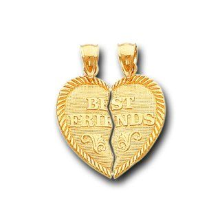 14K Yellow Gold Best Friends Heart Split Charm Pendant IceNGold Jewelry