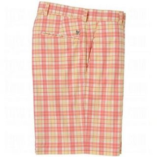 Oxford Golf Mens Collinstown Flat Front Plaid Shorts 40 40.0 Coral Sun at  Men�s Clothing store