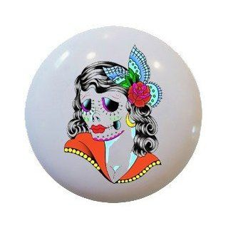Sugar Skull Female Ceramic Knobs Pulls Kitchen Drawer Cabinet Vanity 459   Cabinet And Furniture Knobs