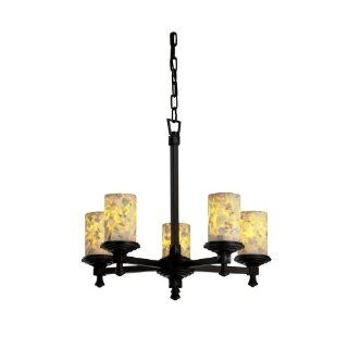 Justice Design ALR 8530 10 NCKL Alabaster Rocks   Five Light Deco Chandelier, Choose Finish Brushed Nickel Finish, Choose Lamping Option Standard Lamping