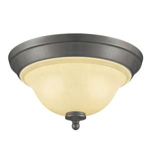 Hampton Bay 2 Light Indoor/Outdoor Flushmount in Rustic Iron Finish with Antique Ivory Glass ESS8012