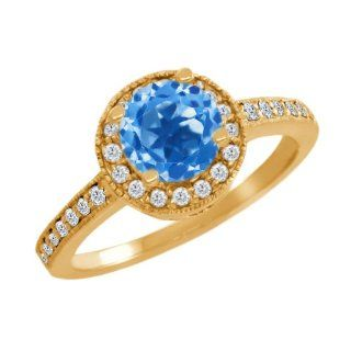 1.30 Ct Round Swiss Blue Topaz White Diamond 14K Yellow Gold Ring Engagement Rings Jewelry