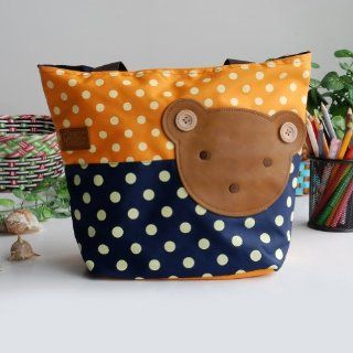 [Bear Orange] Blancho Applique Kids Fabric Art Tote Bag/Shopper Bag Middile size (13.3*5.1*10.6)  Baby