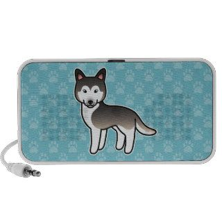 Wolf Grey Cartoon Siberian Husky Notebook Speakers