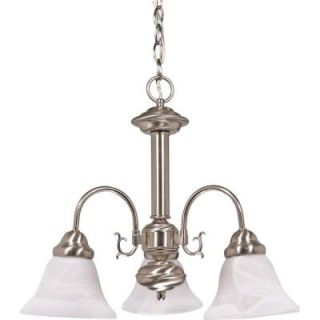 Glomar Ballerina 3 Light Brushed Nickel Chandelier with Alabaster Glass Bell Shades HD 182