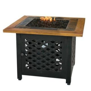UniFlame 32 in. Square Slate Tile and Faux Wood Propane Gas Fire Pit GAD1391SP