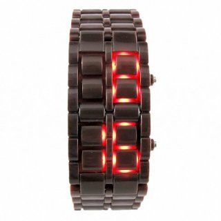 Youyoupifa International Men's Brown Rubber RED LED Digital Bracelet Watch NBW0LE6433 BN3 Watches