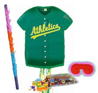 Oakland Athletics Baseball   Shirt Shaped Pull String Pinata Party Pack Including Pinata, Pinata Candy and Toy Filler, Buster and Blindfold Toys & Games
